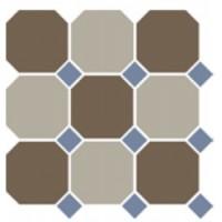 4429+01  OCT11-B Coffe Brown 29 Beige 01 OCTAGON/Blue Cobalt 11 Dots (лист 9 штук+вставки) 30x30