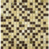 2029 №  микс травертин-коричневый-золото (1.5x1.5) 30x30