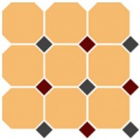 4421  OCT14+20-A Oche Yellow OCTAGON 16/Black 14 + Brick Red 20 Dots (лист 9 штук+вставки) 30x30
