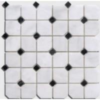 PASMABC10 Octogones Blancs Cabochons Noirs 30.5x30.5