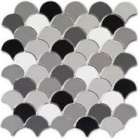 EMOI3030EP04 Ecaille de poisson Quatuor Noir-Blanc-Gris 30x30