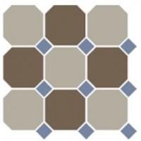 4401+29  OCT11-A Beige 01 Coffe Brown 29 OCTAGON/Blue Cobalt 11 Dots (лист 9 штук+вставки) 30x30