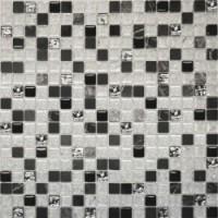 № 2026 микс мрамор черный-черный-белый кол-платина (1.5x1.5) 30x30