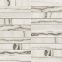 756310  Prexious White Fantasy Mosaico 3x15 Glossy 30x30