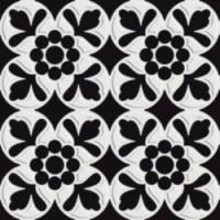 7VFNBF6  Deco Dantan Fleur Noir-Blanc 20x20