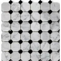 Bianco Carrara + Nero Marquina Octagon 1,5*1,5*1 30,5*30,5