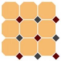 4421  OCT20+14-B Ochre Yellow OCTAGON 16/Brick Red 20 + Black 14 Dots (лист 9 штук+вставки) 30x30