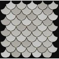EMOI3030EP03 Ecaille de poisson Trio Blanc-Gris 30x30