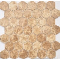 TES78346 Emperador light MAT hex 18x30x6x0.6 29.5x30.5