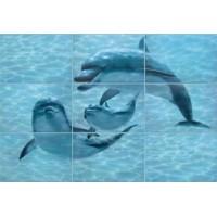 TES102877 Лазурь Аква Дельфины 75x105