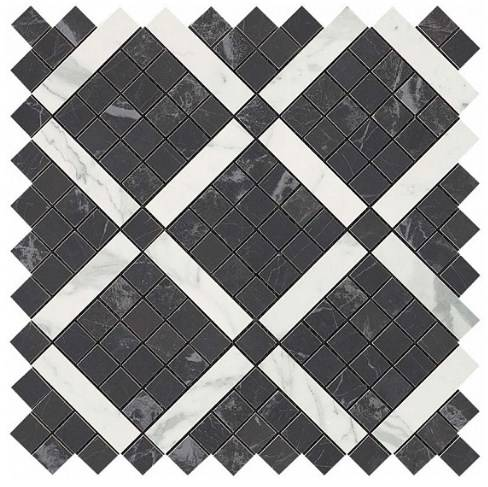Noir Mix Diagonal Mosaic (Noir+Statuario Select)