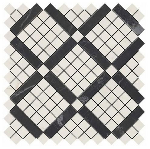 Керамогранитная мозаика Cremo Mix Diagonal Mosaic (Cremo+Noir) 30.5x30.5 Atlas Concorde