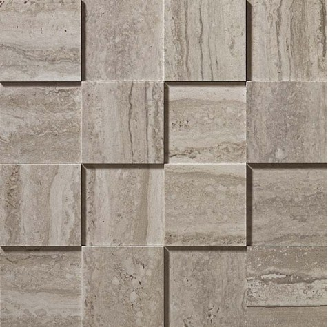 Керамогранитная мозаика Travertino Silver Mosaico 3D Рельефная, для стен 30x30 Atlas Concorde
