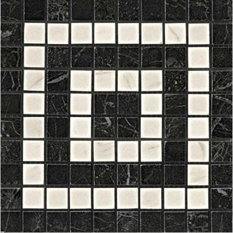 Керамогранитная мозаика Угловой элемент Noir/Cremo Angolo Mosaico 18.5x18.5 Atlas Concorde