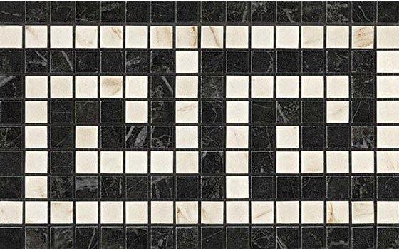 Керамогранитная мозаика Мозаичный бордюр Noir/Cremo Greca Mosaico 18.5x30 Atlas Concorde