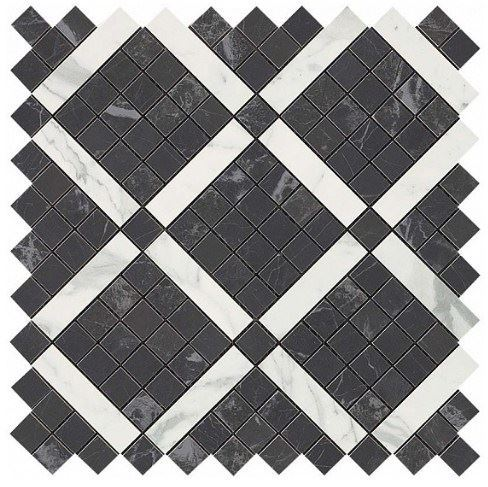 Керамогранитная мозаика Noir Mix Diagonal Mosaic (Noir+Statuario Select) 30.5x30.5 Atlas Concorde