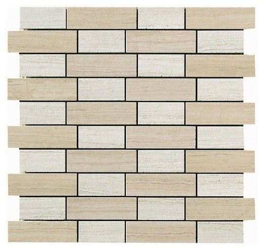 Керамогранитная мозаика Travertino Almond + White Mosaico Fabric 30x30 Atlas Concorde