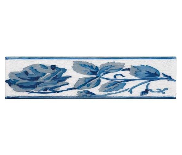 Бордюры ADEX MODERNISTA Cenefa Rosas PB Azul C/C B