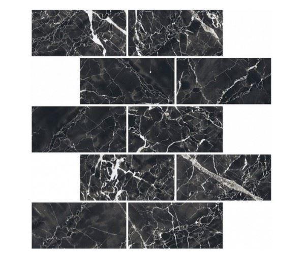 Мозаика /Керамогранит/ KERRANOVA / КЕРРАНОВА BLACK & WHITE Мозаика Black / Черная лаппатированная