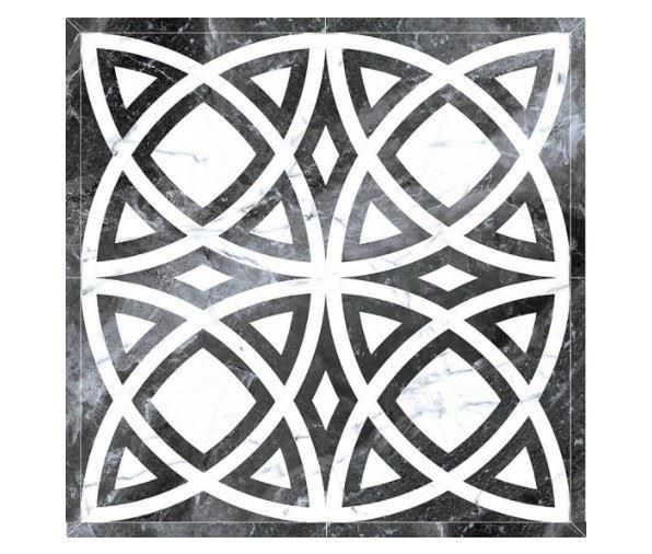Декоративные элементы /Керамогранит/ KERRANOVA / КЕРРАНОВА BLACK & WHITE Панно Черное / Black лаппатированное