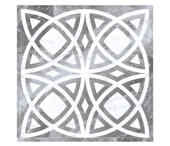 Декоративные элементы /Керамогранит/ KERRANOVA / КЕРРАНОВА BLACK & WHITE Панно Серое / Grey лаппатированное